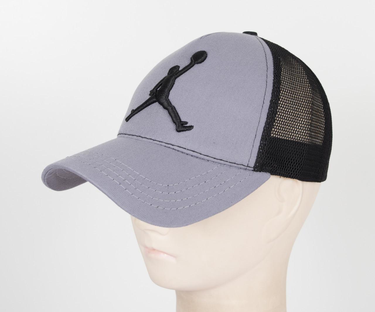 Бейсболка вышивка сетка J1901 Серый