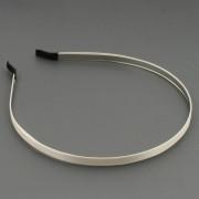 Обруч для волос металлический, ширина 7 мм с кремовой атласной лентой