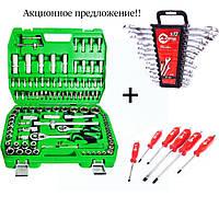 Набор инструментов 108 ед. ET-6108SP + набор ключей 12 ед. HT-1203 + Набор ударных отверток 6 шт. 39K403