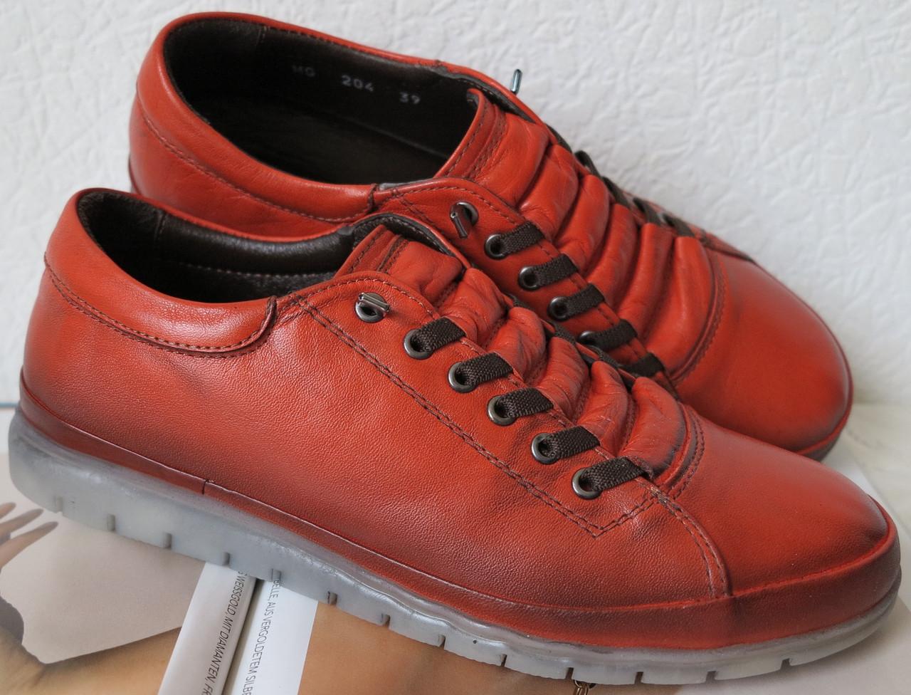 Весна 2019! Mante X! Находка!!! Универсальные рыжие кожаные туфли кеды без шнурков для женщин