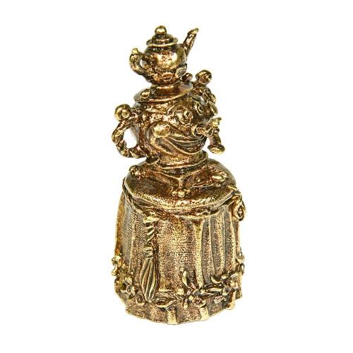 Колокольчик бронзовый Самовар на столе