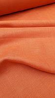 Льняная сорочечная ткань рыже - оранжевого цвета, фото 1