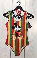 Стильный купальник-боди в яркую полоску с рисунком Микки.