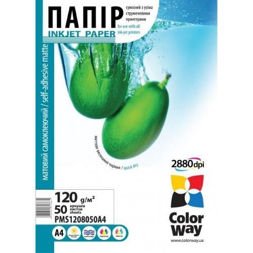 """Матовая фотобумага """"самоклеющаяся"""" ColorWay 120 - 80гр, А4, 50 листов"""