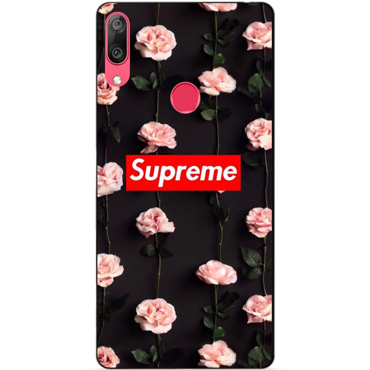 Чехол силиконовый для Huawei Y7 2019 с рисунком Supreme на розах