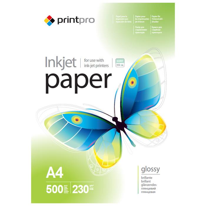Глянцевая фотобумага PrintPro 230гр, A4, 500 листов