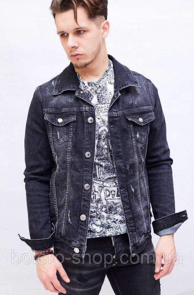 Куртка мужская джинсовая весна-лето Dsquared темно-синяя с потертостями