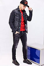 Куртка мужская джинсовая весна-лето Dsquared темно-синяя с потертостями, фото 3