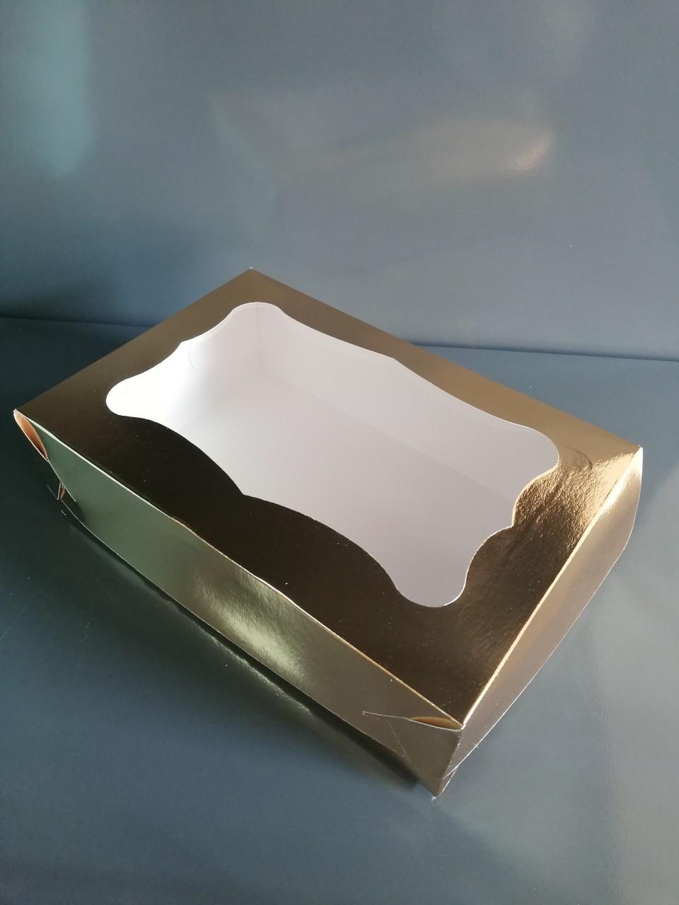 Упаковка для пирожных с окошком, золото