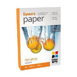 Глянцевая фотобумага ColorWay 200гр, A4 100 листов