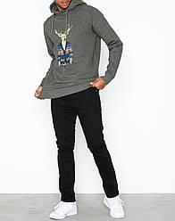 Мужская толстовка серая принт оленя Tristan Sweat от Solid (Дания) в размере M 48/50
