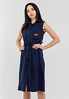 Элегантное летнее женское хлопковое платье без рукавов Modniy Oazis темно-синий 90307, фото 1