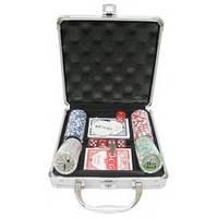 Покерный набор на 100 фишек с номиналом в металлическом кейсе №100N,все для покера
