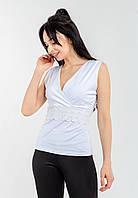 Приталенная женская белая блузка с запахом и кружевом из микродайвинга Modniy Oazis 90308, фото 1