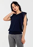 Модная летняя шифоновая двухслойная женская блузка свободного кроя Modniy Oazis синий 90310, фото 1