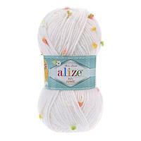 Пряжа Alize Baby Flower 5408 (Ализе Беби Фловер) детская пряжа с цветочками