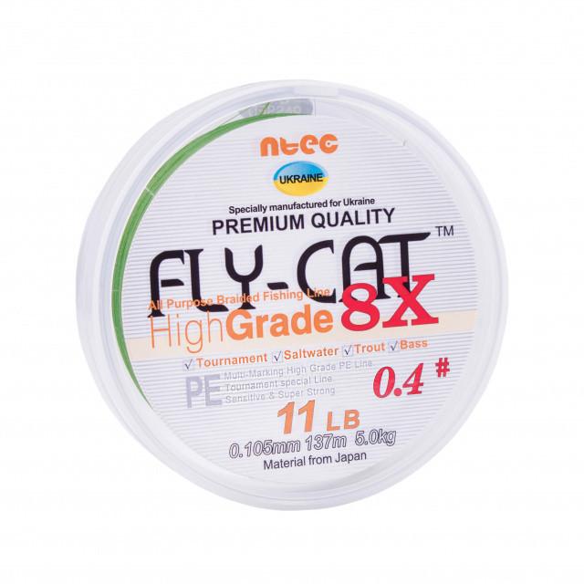 Шнур плетеный NTEC FlyCat X8 Oliva Green 137м, 0.128мм, 13lb-5.9кг
