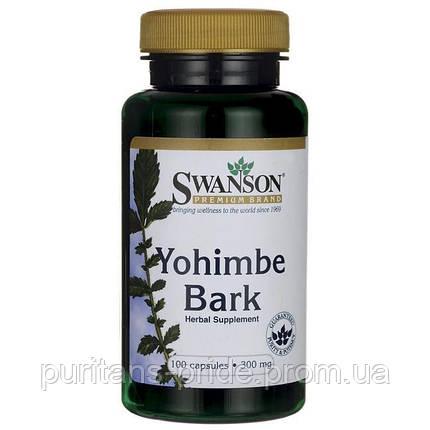 Йохимбе кора, экстракт, Yohimbe Bark Swanson 300 мг 100 капсул, фото 2