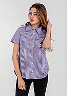 Модная женская рубашка на пуговицах с отложным воротником и короткими рукавами Modniy Oazis фиолетовый 90312/1