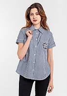 Модная женская рубашка на пуговицах с отложным воротником и короткими рукавами  Modniy Oazis синий 90312/2