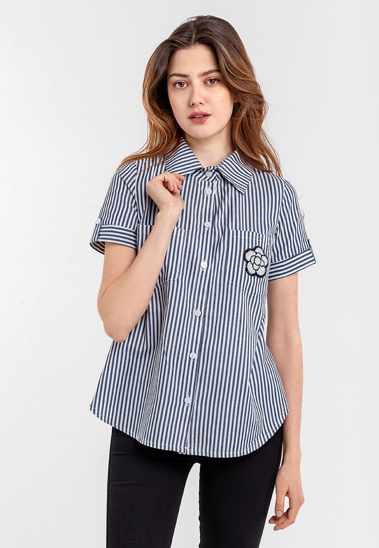 Модная женская рубашка на пуговицах с отложным воротником и короткими рукавами  Modniy Oazis синий 90312/2, фото 1