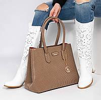 3ac8029114a8 Женская сумка Guess (копия) c брелком, из искусственной кожи в цвете  капучино
