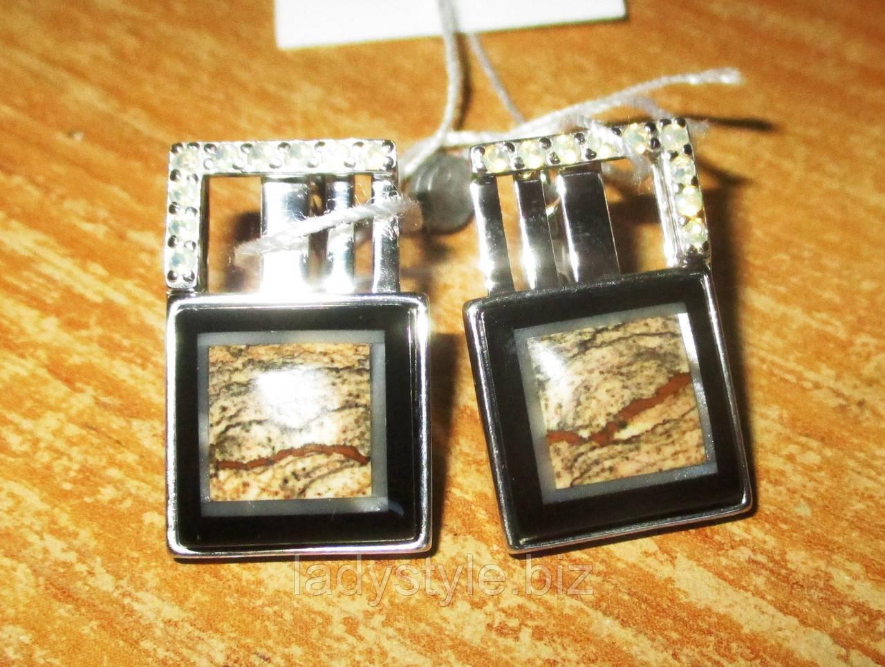 """Класичні срібні сережки з пейзажній яшмою """"Піски часу"""""""