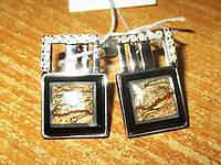 """Класичні срібні сережки з пейзажній яшмою """"Піски часу"""", фото 1"""