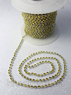 Стразовая цепь ss6 (2,0 мм), цвет - Желтый