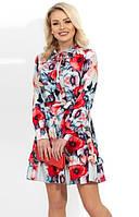 Романтичное платье мини с цветочным принтом Д-1196