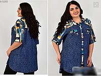 Летняя рубашка -туника, с 52-70 размер, фото 1