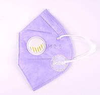 Маска-респиратор с клапаном для лица нежно розовая 1 шт