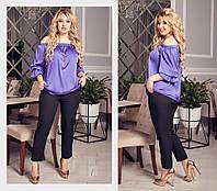 41a00df8b87 Симпатичный костюм с шелковой блузкой и брюками