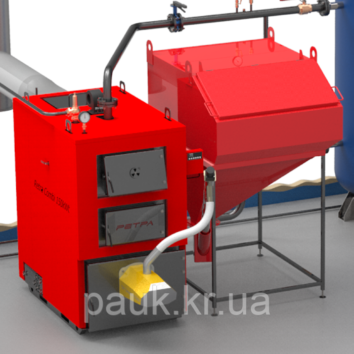 Твердотопливный котел 80 кВт РЕТРА-4МCombi, котел промышленный с факельной горелкой