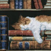 Набор для вышивки крестиком Кошка спящая на книжной полке 26x26 см (черная) Vervaco