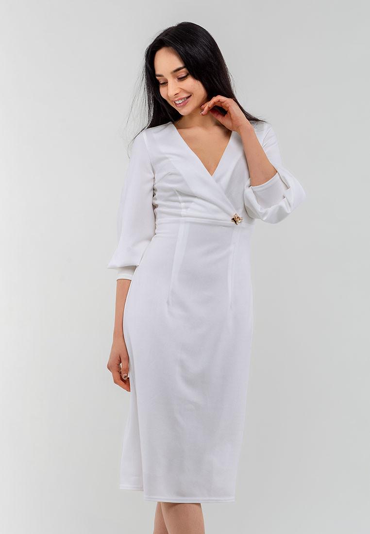 """Элегантное изысканное женское платье из """"Парчи"""" Modniy Oazis белый 90333/2, фото 1"""