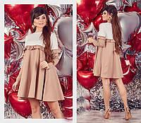 8318d96f08f Женское короткое платье свободного кроя из французского трикотажа с рюшами  42-44
