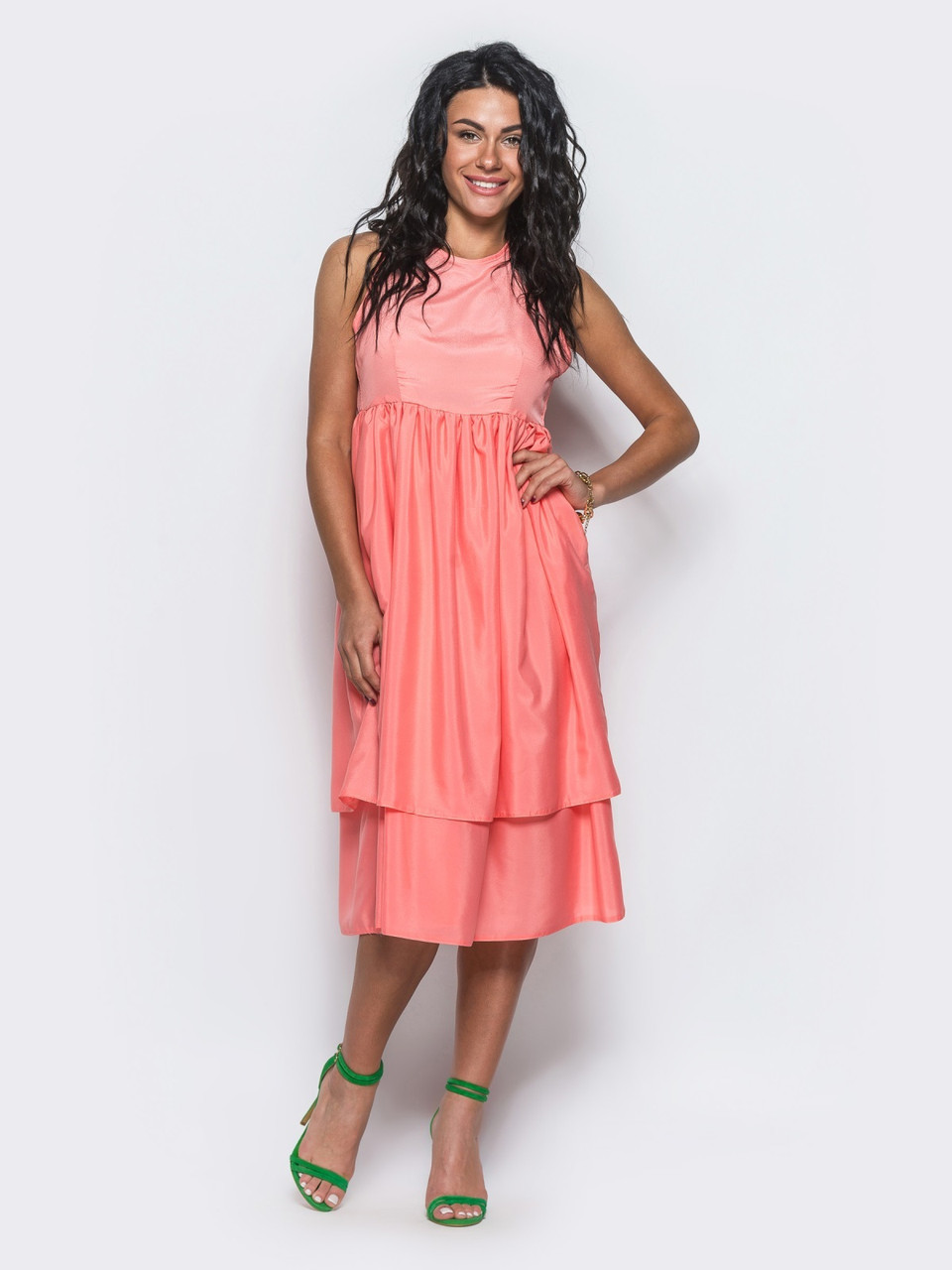 1827b8495bc Розовое летнее платье без рукавов   Размер 44
