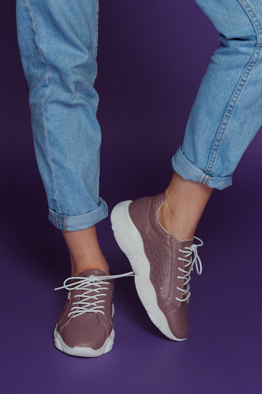 Женские летние кожаные кроссовки с перфорацией (сирень)