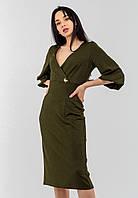 """Элегантное изысканное женское платье из """"Парчи"""" Modniy Oazis хаки 90333, фото 1"""