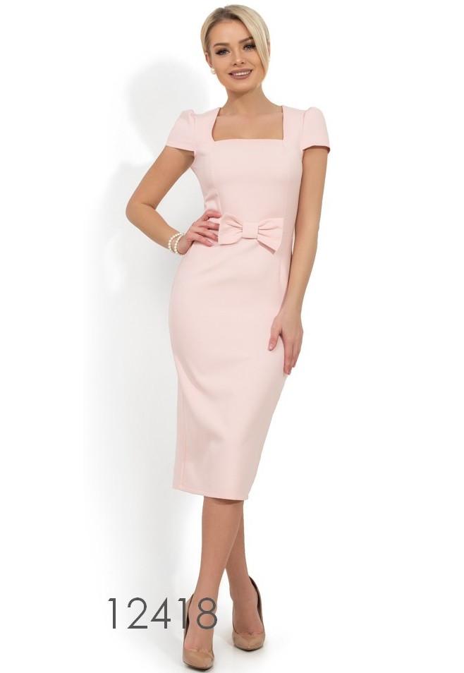 025b96a1b66f Розовое платье-футляр с бантом на талии Д-576