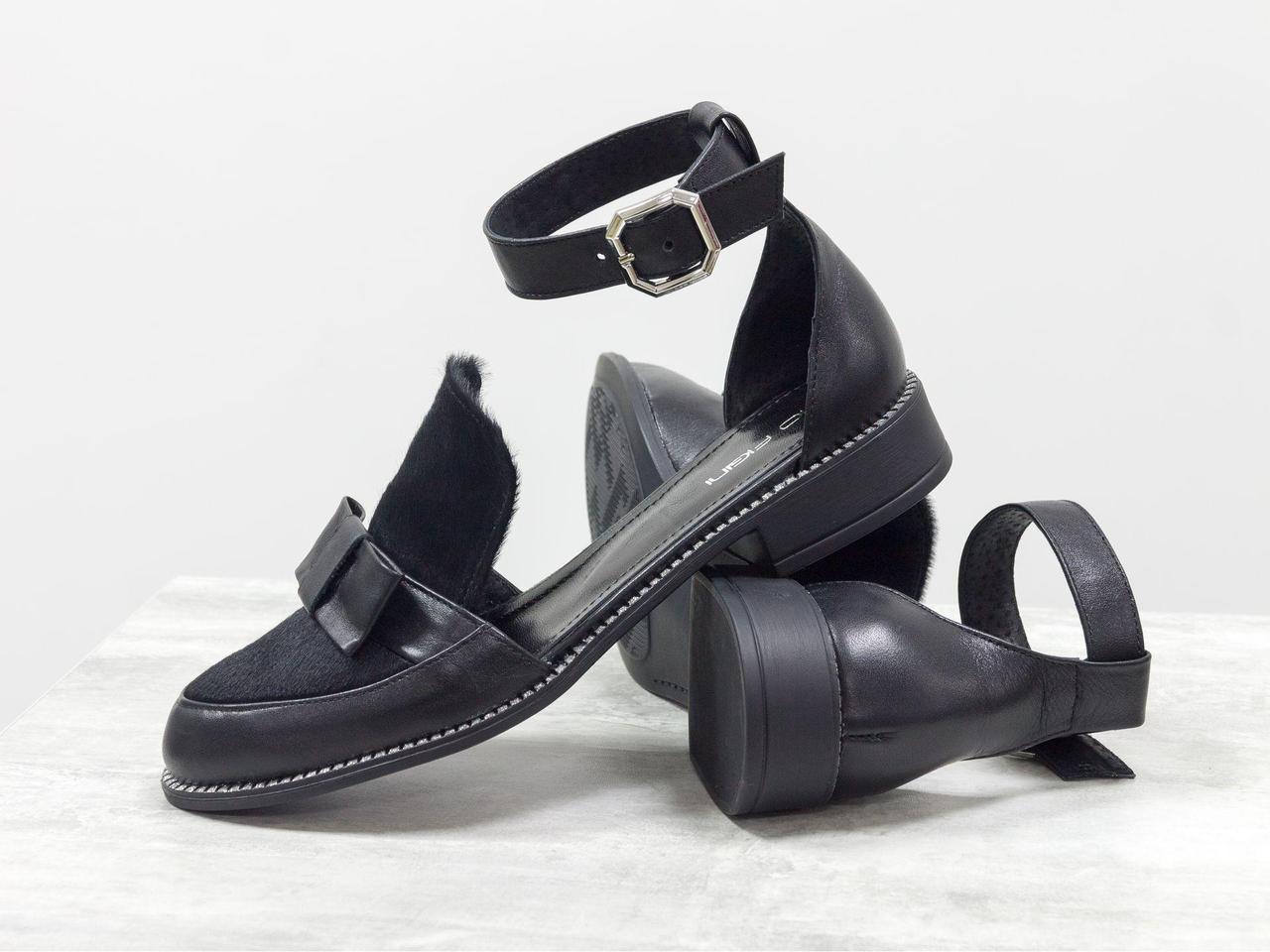 Красивые и удобные женские Туфли с бантиком из натуральной кожи черного цвета и вставками из меха пони