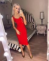Женское облегающее платье ниже колен с красивым декольте 42-44, 44-46, 48-50, 50-52