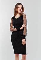 Стильное женское платье с рукавами сетка Modniy Oazis черный 90335, фото 1