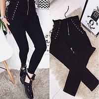 Женские джинсы со шнуровкой на талии черные, фото 1