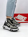 Мужские кроссовки Nike React Element 87 x Undercover Gray Black White. Живое фото. Топ реплика ААА+, фото 3