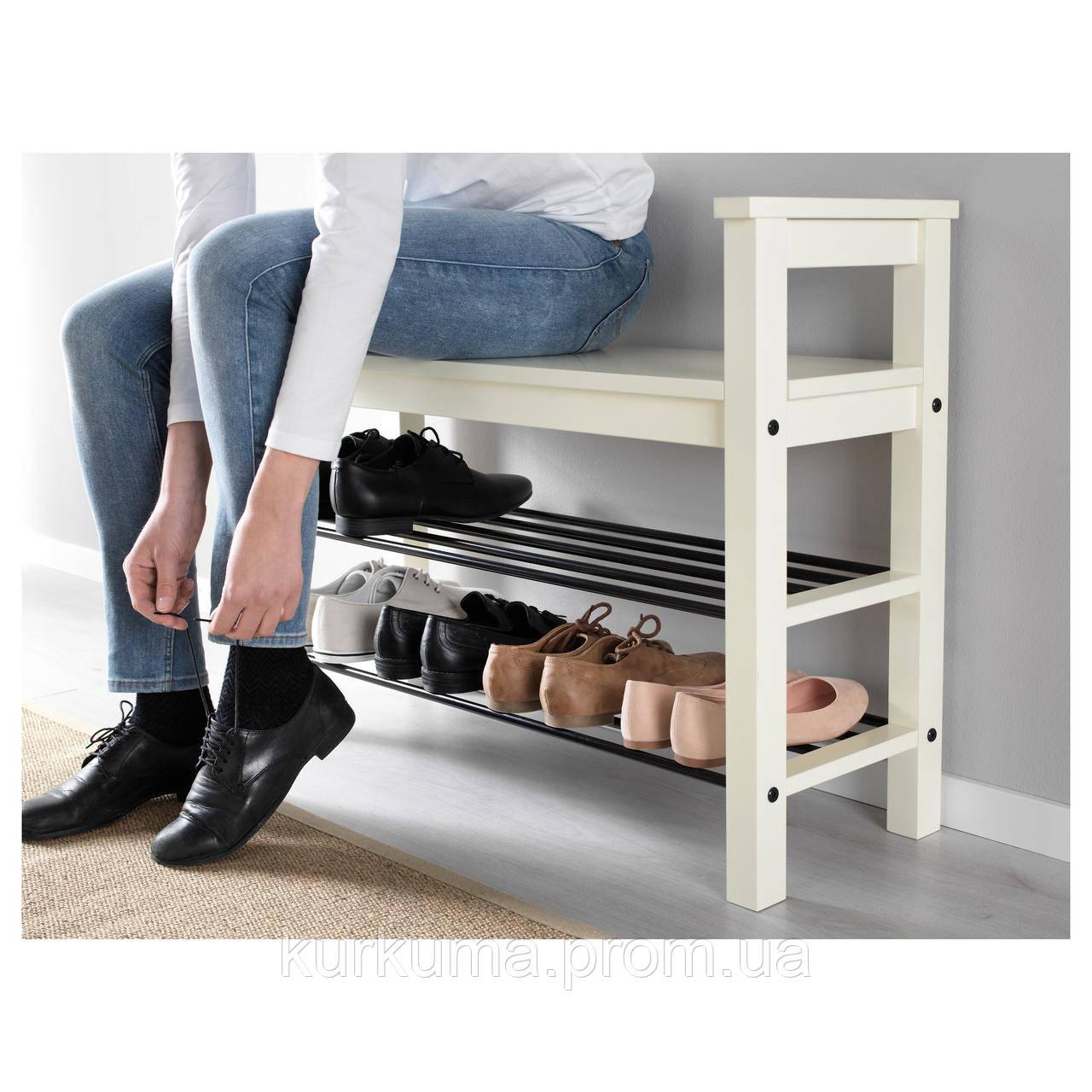 IKEA HEMNES Скамья для обуви, белый  (002.438.00)