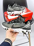Мужские кроссовки Nike React Element 87 x Undercover Gray Black White. Живое фото. Топ реплика ААА+, фото 10