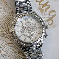 Часы Skmei MK 116173 женские серебристые с белым циферблатом в стразах диаметр 40 мм копия, фото 1