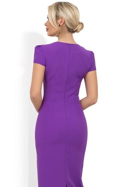b4c34f591e83 Фиолетовое платье-футляр с бантом на талии Д-1229
